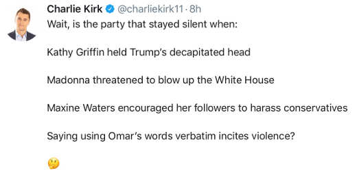 tweet charlie kirk party that stayed silent griffin waters madonna