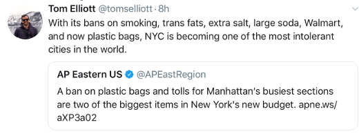 tweet nyc ban on plastic bags large soda more most intolerant city america
