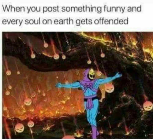 when you post something funny every soul on earth is offended