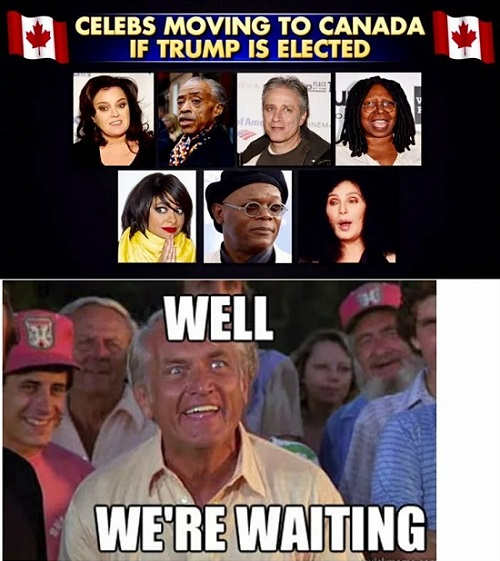 celebrities moving to canada if trump elected whoopi rosie cher jonathon steward al sharpton were waiting