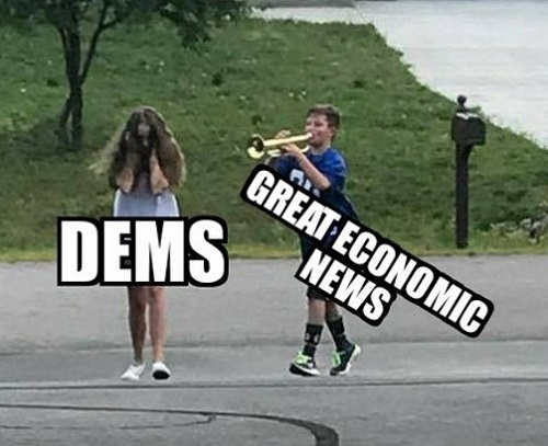 democrats covering ears to great economic news horn