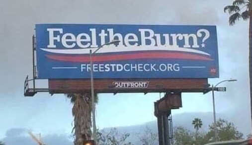feel the burn free std check bernie sanders sign