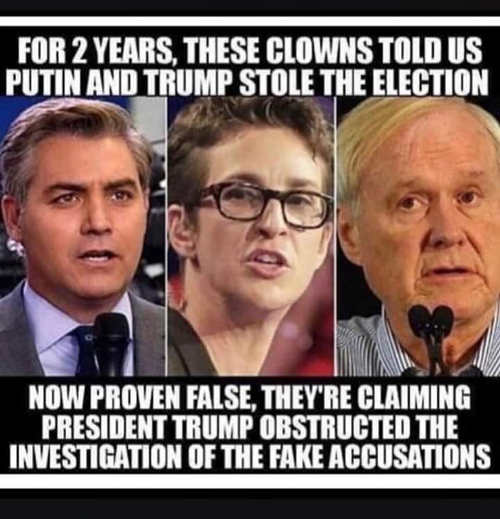 for 2 years clowns acosta maddow mathews accused trump of collusion now obstruction of fake accusations
