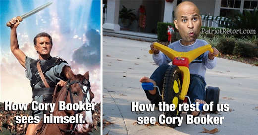 how cory booker sees himself spartacus how world sees him kid on tricycle