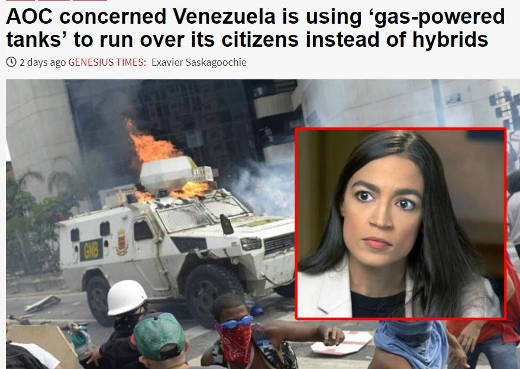 ocasio cortez concerned venezuela using gas powered tanks to run over its citizens satire