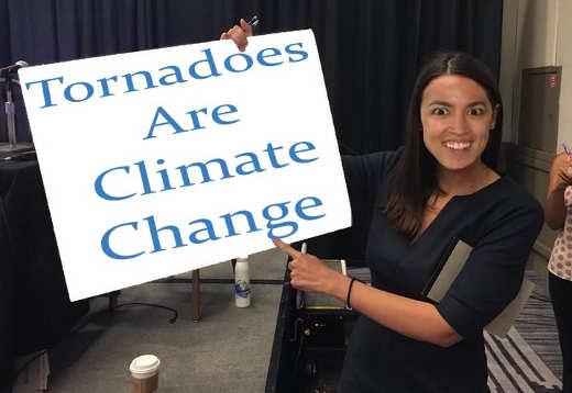 ocasio cortez tornados are climate change