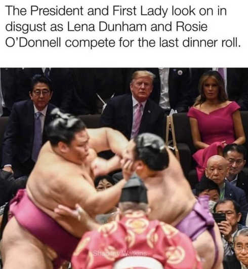 president and first lady watch rosie odonnell lena dunham fight over last dinner roll sumo wrestling