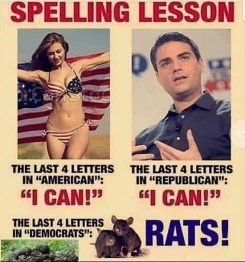 spelling last 4 letters american republican democrats rats