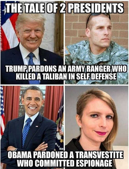 tale of 2 presidents trump pardons ranger who killed taliban self defense obama pardoned transvestine who committed espionage