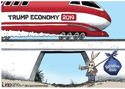 trump train economy vs democrats hitching ride socialism