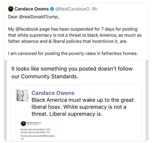 tweet candace owens suspended by facebook