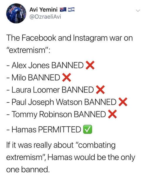 tweet facebook instagram jones milo loomer robinson banned hamas permitted