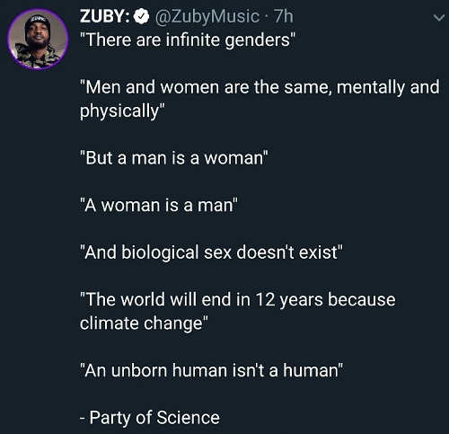 tweet party of science genders 12 years climate unborn human