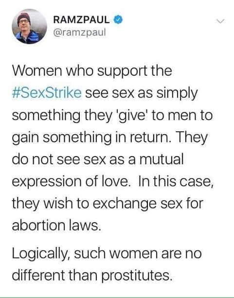 tweet women who support sex strike no different than prostitutes