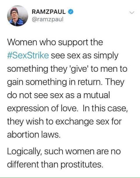 tweet women who support sex strike no different than prostitutes