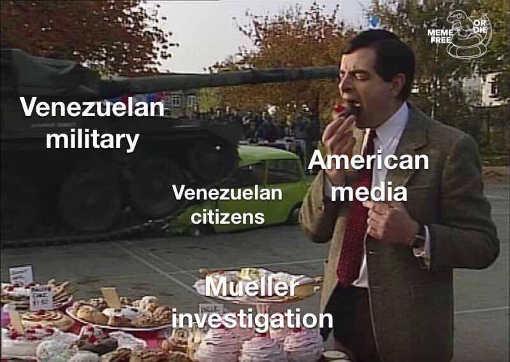 venezuela military tank rolling over citizens american media mueller investigation