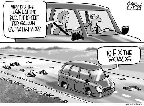 why did legistlature pass gas tax to fix roads full of potholes