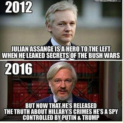 2012 julian assange hero of left when leaked secrets of bush wars release truth hillary crimes spy controlled by putin