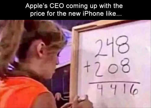 apple ceo coming up with price of next iphone math