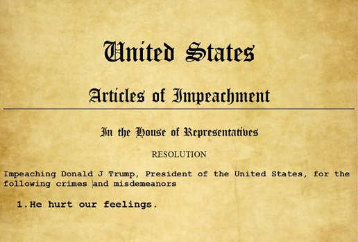 articles of impeachment trump he hurt our feelings
