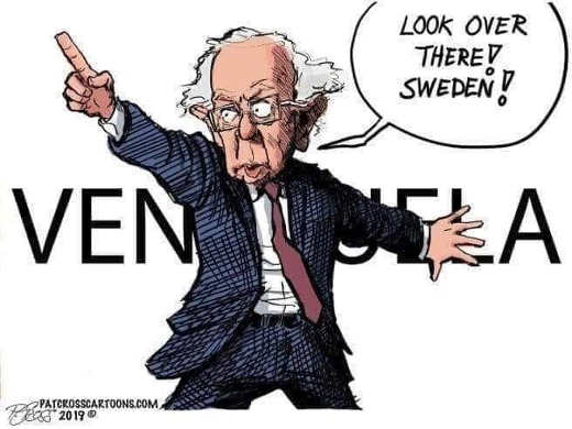bernie sanders look over there at sweden covering venezuela