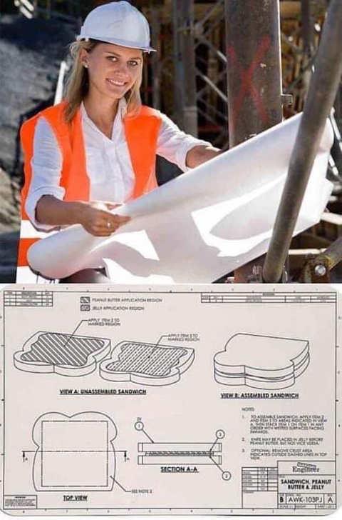 construction plans woman making sandwich