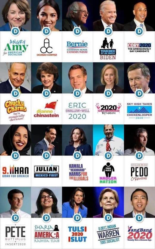 democratic 2020 candidate logo slogans