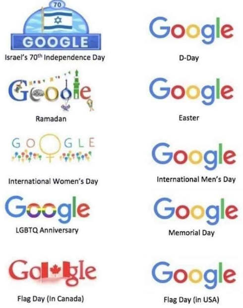 google home page different holidays anything liberal foreign vs us military christian
