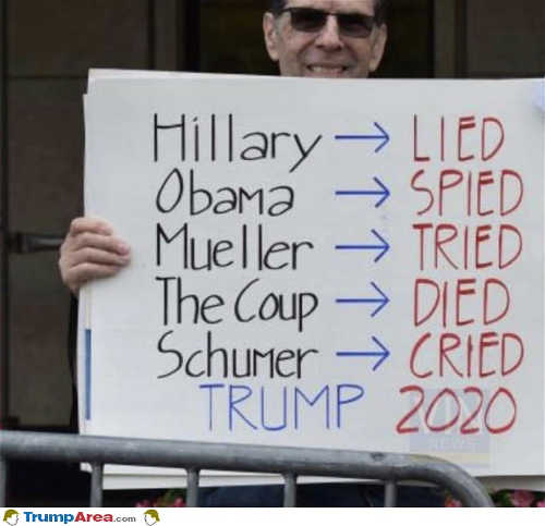 hillary lied obama spied mueller tried coup died schumer cried trump 2020 sign