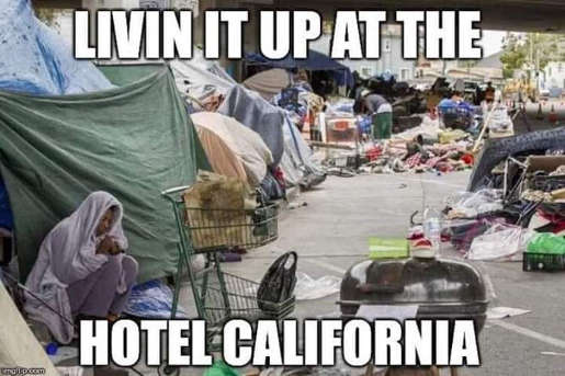 living it up at the hotel california homeless