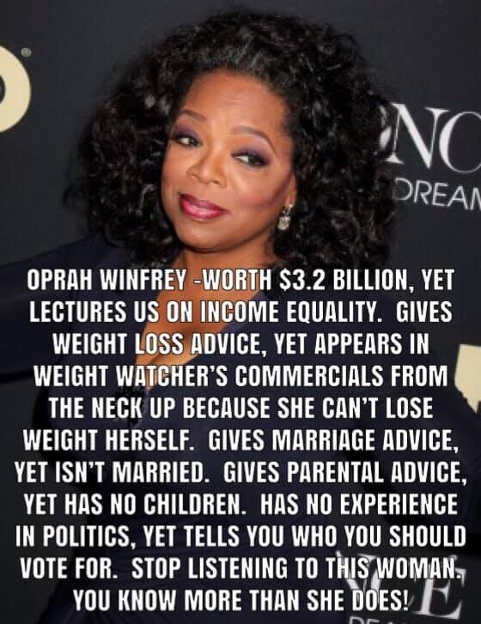 oprah winfrey keeps giving advice on stuff she doesnt know about