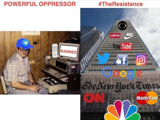 powerful oppressor person banned resistance twitter google cnn nyt facebook