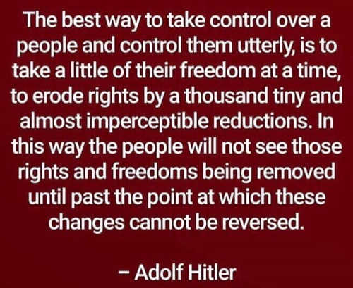 quote hitler best way to take control over people little of freedom at a time