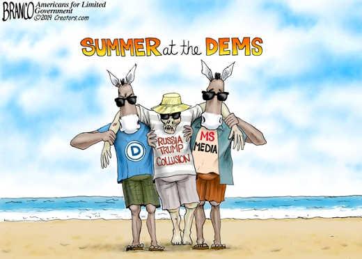 summer at the dems mainstream media democrats russia trump collusion weekend at bernies