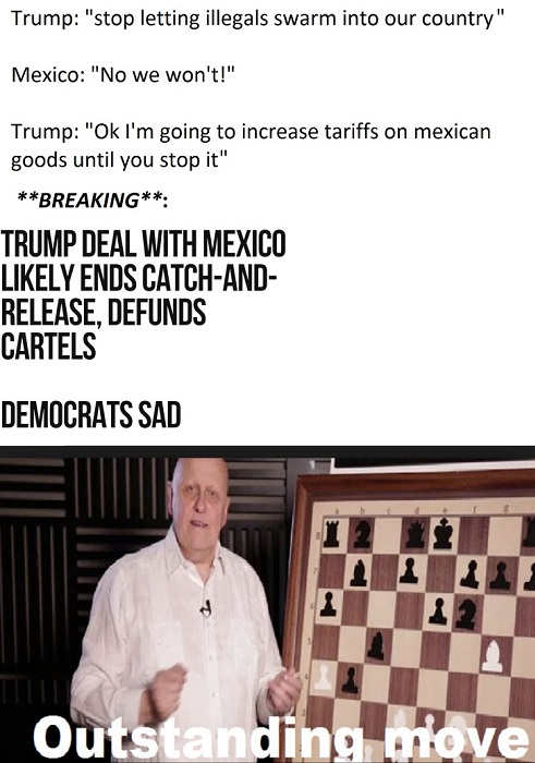 trump to mexico stop illegals or get tariffs deal reached on catch and release defunds cartels democrats sad