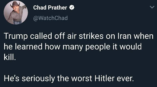 tweet trump called off air strikes on iran people killed worst hitler ever