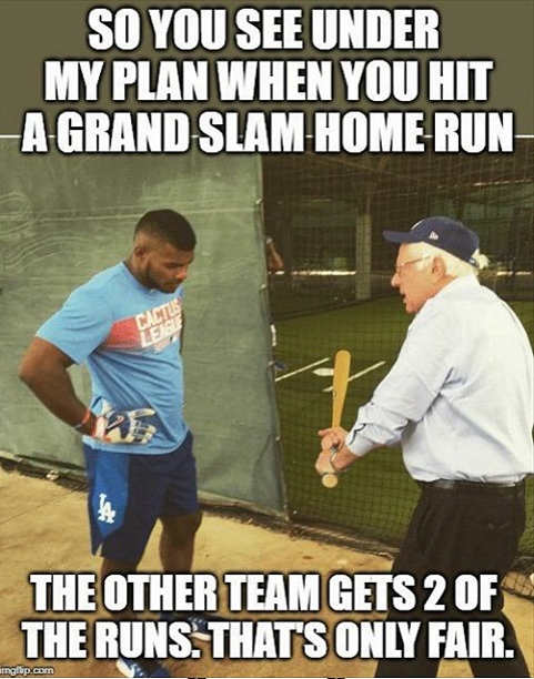 when you hit grand slam the other team gets 2 runs also bernie sanders