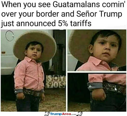 when you see guatamalans coming over border and senor trump 5 percent tariff