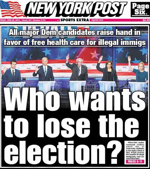 who wants to lose election all candidates raise hand in favor of free health care illegal immigrants