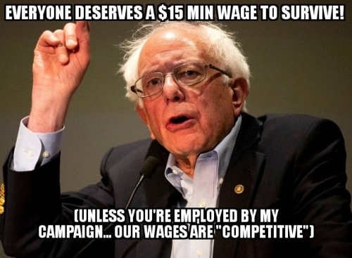 bernie sanders 15 minimum wage unless employed by him