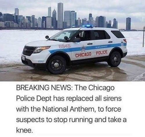 breaking news chicago replaced sirens with national anthem suspects take a knee