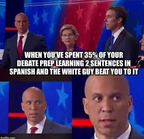 cory booker when you spent debate prep learning spanish white guy beat you