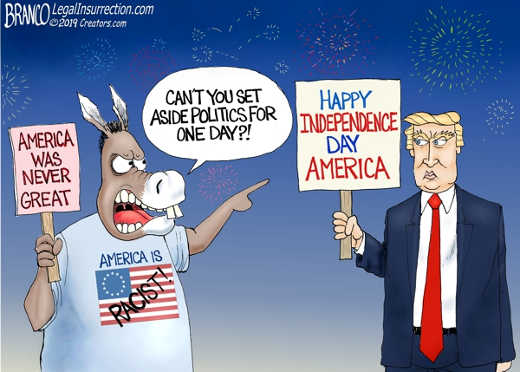 happy independence day trump america cant you set aside politics one day democats america never great
