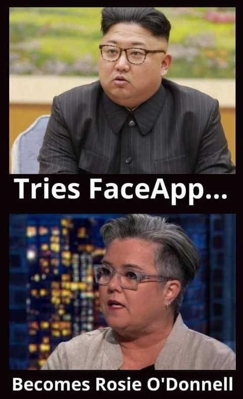kim jong un face app rosie odonnell
