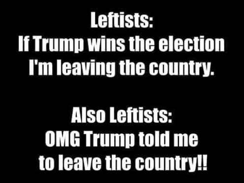 leftists if trump elected leaving country omg trump told us to leave