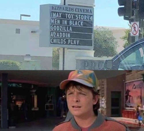 marty mcfly movie theater 2019 alladin toy story men in black godzilla childs play