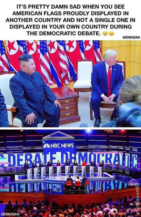 more flags north korean visit than democratic debate