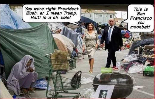 pelosi youre right president bush haiti is shithole trump this is san francisco