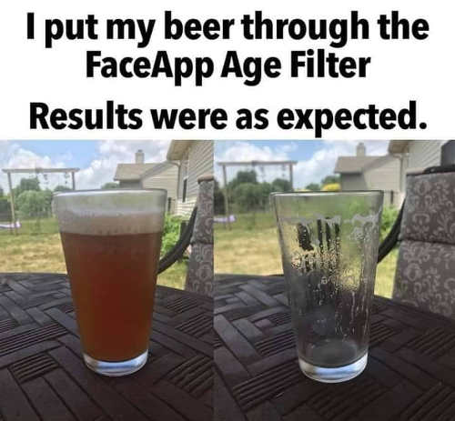 put beer through faceapp age filter results expected empty