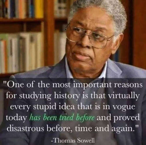 quote sowell studying history important stupid ideas tried before